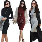 UK Size 8 10 12 14 16 18 Women Autumn Winter Sexy Bodycon Long Sleeve Midi Dress