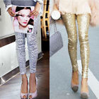 New Women Fashion Shitsuke Hin Thin Gold Silver Black Sequins Leggings S M L J26