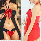 Bows Babydoll Lace Women Sleepwear Lingerie G-String Underwear Nightwear Set L87