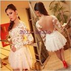 Women Lace Hollow Embroidery Long Sleeve Cocktail Evening Sexy Mini Dress