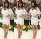 Fashion Women's White Lace Evening Sexy Party Cocktail Bandage BodyCon Dress - S