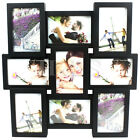 Multi Collage Photo Picture Frame 4 x 6 Aperture Wall Black White 9 Square Large