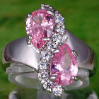 Fashion Womens Pear Cut Pink & White Topaz Gemstones Silver Ring Size 7 8 9 10