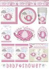 UMBRELLAPHANTS PINK GIRL Baby Shower PARTY Tableware Balloons Decorations Range