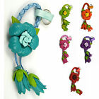 Genuine Leather Anemone Floral, Flower Keychain, Key Ring, Snap Bag Charm fka8