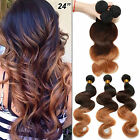 "US Hot 1-2Bundles Ombre 1b/4/27# 12""-26""Human Hair Brazilian Extensions 50g/PC"