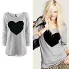 New Women Ladies Heart Printed Long Sleeve Loose T Shirt Top Blouse Jumper S-XL