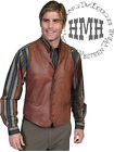L206tands Scully Leather Whip Stitch Western Cowboy Vest Ranch Tan