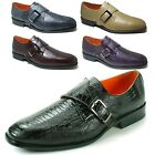 Mens Monk Strap Loafers Slip on Faux Snakeskin Metal Buckle Casual Dress Shoes