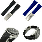20mm New Black Blue Diver Silicone Rubber Curved end Watch band strap bracelets