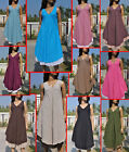 Dt19 Summer Boho beach vintage dress Cotton v neck 2 layer sundress Solid M L XL