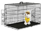 "2 Doors Black 24"" Pet Folding Suitcase Dog Cat Crate Cage Kennel Pen w ABS Tray"