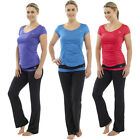 Ladies Fitness Yoga Pants T-Shirt Top Gym Exercise 3/4 Bottoms Pilates Training