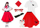 Hip Hop 50s Shop Womens 6 pc Poodle Skirt Outfit Halloween or Dance Costume Set