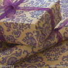 Purple Baroque Patterned Kraft Brown Wrapping Paper 5 or 10 metres