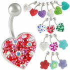 crystal heart belly navel bar steel button ring piercing 9GBI-PICK STYLES&COLOUR