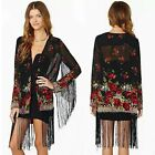 Multicolor Floral Open Front Fringe Trim Women's Chiffon Wrap Top Shirt Blouse