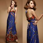Womens Party Formal Empire Waist Halter Waist Straps Floral Long Maxi Dress 6555
