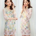 Gorgeous Flower White Lace 3/4 Sleeve Crew Neck Womens Shift Mini Dresses Tops