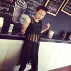 2015 See Through Sheer Mesh Stripe Long Top Blouse Shirt Hollow Mini Vest Dress