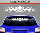 Design #100-02 Skull Back Window Decal Sticker Vinyl Graphic Flame Flaming Truck