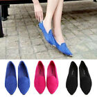 Sweet Women Metal Pointed Toe Pump Casual Flat Leather OL Shoes Black Red Blue