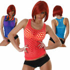 Shirt Netz Top Löcher Sexy Clubwear Dance Party Tanz Club Gogo NEU T-Shirt Größe