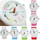 Kids Child Cute Pencil Pointer Hands Big Dial PU Leather Band Quartz Wrist Watch