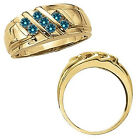 0.5 Carat Blue Diamond Men's Fancy Channel Band Engagement Ring 14K Yellow Gold
