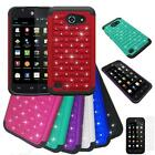 For AT&T Huawei Fusion 3 4G LTE Case Rugged Dual-Layered Crystal Cover +Flim