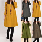 Womens Long Sleeve Swing Tunic Mini Dress Maternity Loose Long Tops Shirt Jumper