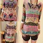 New Style Women Loose 3/4 Sleeve Blouse Boho Casual Long T-Shirt Tops Shirt UK