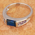 PRINCESS CUT Blue Sapphire 4*7mm GEMSTONES SILVER RING SizeSelect T7421
