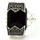 Fashion Black Agate & Marcasite 925 Sterling Silver Ring Size 7/8/9/10