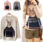 Cute Women Knitted Animal Rabbit Print Casual Loose Pullover Sweater Outwear Top