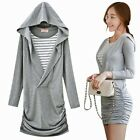 Grey Pullover Curve Loving Striped Faux Twinset Ruched Women's Hoodie Hood Dress