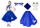 Hip Hop 50s Shop Womens 4 pc Poodle Skirt Outfit Halloween or Dance Costume Set