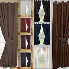 Check Jacquard Curtains with Tie Backs - Eyelet or Tape Top in 9 Colours