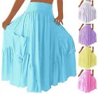 @Q4550 SKIRT DRESS RUFFLED MAXI POCKET S M L XL 1X 2X 3X 4X 5X 6X MADE TO ORDER