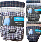3 Pack Mens Woven Classic Boxer Shorts Cotton Rich Elasticated Button Fly