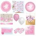 CHRISTENING PINK BOOTIES Tableware & Decorations {Amscan}(Banner/Balloon/Swirl)
