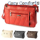 Ladies Medium Sized Handbag with 2 Main Zipped Compartments Red/Navy/Black/Brown
