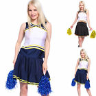 Tank Top Skirt Basketball Football Cheerleader Navy Style Uniform Costume Dress
