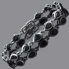 Schmuck Jewelry Rhinestone Pear Cut Black Tennis Statement Fashion Bracelet