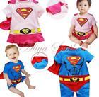 Superman Suit Jumpsuit Costume Party Romper Baby Toddler One-Piece Outfit 6-24M