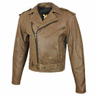 Mens Classic Distressed Brown Leather Motorcycle Biker Jacket 2 Gun Pockets L