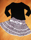 GIRLS TOP & LIGHT PINK WHITE BOW GLITTERY PRINT RUFFLE PARTY SKIRT with BELT
