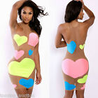 New Womens Mesh Sheer Bandage Sweet Heart Dot Bodycon Party Club Wear Dress
