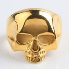 Exquisite Gothic Punk Band Rock Style Stainless Steel Gold Skull Rings Jewelry