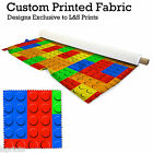 BIG BUILDING BLOCK DESIGN FABRIC LYCRA SPANDEX ALOBA POLYESTER SATIN L&S PRINTS